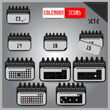 Set of grey calendar icons Stock Photos