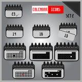 Set of grey calendar icons Stock Photos