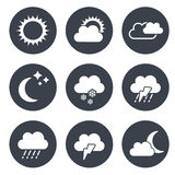 Set of grey circular buttons with weather symbols Royalty Free Stock Image