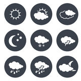 Set of grey circular buttons with white weather symbols, elements of forecast Stock Photo