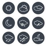Set of grey circular buttons with white weather symbols, elements of forecast, line design Royalty Free Stock Image