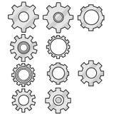 A set of 10 grey cogwheel icon designs. Isolated on white stock illustration