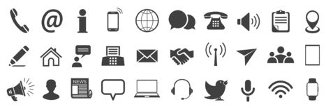 Set grey contact icons, communication signs - vector