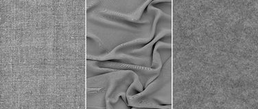 Set grey fabric Stock Photos