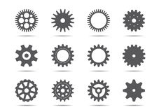 Set of grey gears. Vector Illustration. Royalty Free Stock Photo