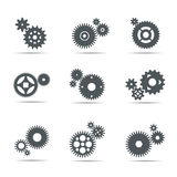 Set of grey Gears. Vector Illustration. Royalty Free Stock Photos