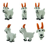 Set of grey goat made from plasticine Royalty Free Stock Images