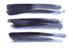 Set of grey ink brush strokes Stock Photo