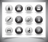 Set of grey new year buttons. Stock Images