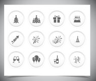 Set of grey new year buttons. Royalty Free Stock Photography