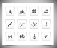 Set of grey new year buttons. Royalty Free Stock Photo