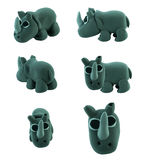 Set of grey rhino made from plasticine Royalty Free Stock Photo