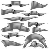 Set of Grey Ribbons. On White Background. Flag Collection Royalty Free Stock Images