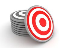 Set of grey targets and one red target Royalty Free Stock Photos