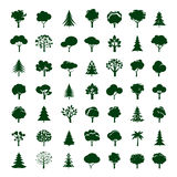 Set of Grey Trees. Vector symbol and icon. Royalty Free Stock Images