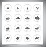 Set of grey weather buttons. Royalty Free Stock Image