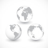 Set Of Grey World Globes vector Illustration Stock Photos