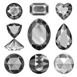Set of greyscale, black gems Royalty Free Stock Image