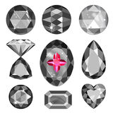 Set of greyscale, black and red gems Stock Photography