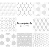 Set of greyscale honeycomb patterns  Stock Photography
