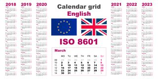 Set grid wall calendar english for 2018, 2019, 2020, 2021, 2022, 2023, ISO 8601 with weeks stock illustration