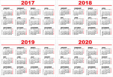 Set grid wall calendar for 2017, 2018, 2019, 2020 Royalty Free Stock Photos