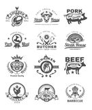 Set grill and barbecue badges, stickers, emblems. Set of black grill and barbecue badges, stickers, emblems isolated on white Stock Photos