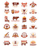 Set grill and barbecue badges, stickers, emblems. Set of color grill and barbecue badges, stickers, emblems isolated on white Stock Photos