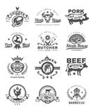 Set grill and barbecue badges, stickers, emblems. Set of vector black grill and barbecue badges, stickers, emblems isolated on white Royalty Free Stock Image