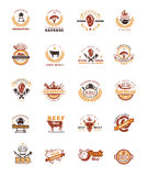Set grill and barbecue badges, stickers, emblems Royalty Free Stock Photo