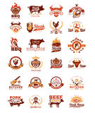 Set grill and barbecue badges, stickers, emblems. Set of vector color grill and barbecue badges, stickers, emblems isolated on white Royalty Free Stock Photography