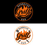 Set of Grill barbecue bar hand written lettering logo, label, badge or emblem with fire. Vintage style. Isolated on background. Vector illustration Royalty Free Stock Image