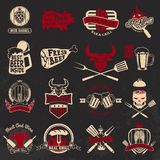 Set of the grill, barbecue, fresh beer, steak house labels and e. Mblems on grunge background. Design elements for logo, label, emblem, badge, sign stock illustration