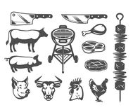 Set grill and barbecue icons. Set of black grill and barbecue icons isolated on white Stock Photos