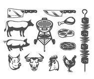 Set grill and barbecue icons. Set of vector black grill and barbecue icons isolated on white Stock Photography