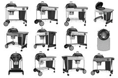 Set grill with cart on wheels. Collection grill with cart on wheels. 3D graphic Stock Images