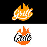 Set of grill hand written lettering logo, label, madge or emblem with fire. On background. Vector illustration Stock Image