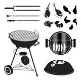 Set of grill with pieces of different meat. Set of black and white grill with pieces of different meat Royalty Free Stock Photos