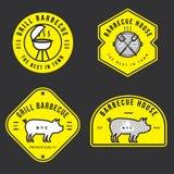 Set grilla logo, odznaki, sztandary, etykietki, emblemat dla BBQ sklepu Konturu projekt Minimalny projekt Obraz Stock