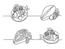 Set grilled fish on plate with lemon and potato. Set continuous line drawing. Grilled fish on plate with lemon and potato. Vector illustration black line on Stock Photography