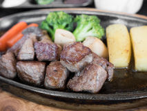 Set of grilled japanese beef steak. On table royalty free stock photography