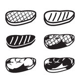 Set of grilled meat vector icon. Meat , beef and pork in six style Royalty Free Stock Image