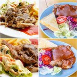 Set of grilled pork steak with potato and salad Royalty Free Stock Images