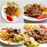 Set of grilled pork steak with potato and salad Stock Image