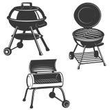 Set of the grills isolated on white background. Design elements. For restaurant menu, poster, emblem, sign. Vector illustration stock illustration