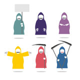 Set Grim Reaper  in coloured raincoats. Death in different posit Royalty Free Stock Photo