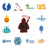 Set of grim reaper, omg, coming soon, earth hour, stratis, stingray, silo, nargile, o fire icons. Set Of 13 simple editable icons such as grim reaper, omg Stock Image