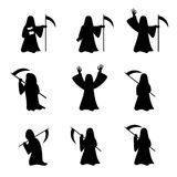 Set of Grim Reaper in silhouette style Stock Image