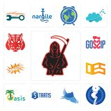 Set of grim reaper, squat, shoes with wings, stratis, oasis, oes, omg, gossip, tiger icons. Set Of 13 simple editable icons such as grim reaper, squat, shoes Royalty Free Stock Image