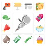 Set of Grinder, Cupcake, Chives, Pickles, Mug, Pasta, Ham, Jam,. Set Of 13 simple editable icons such as Grinder, Cupcake, Chives, Pickles, Mug, Pasta, Ham, Jam vector illustration